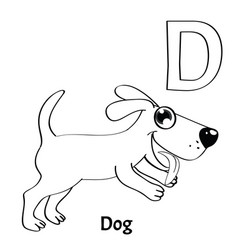 alphabet letter d coloring page dog vector image