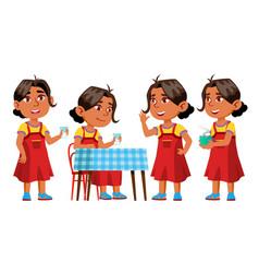 arab muslim girl kindergarten kid poses set vector image