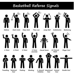 Basketball referees officials hand signals stick vector