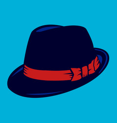 Black fedora hat vector