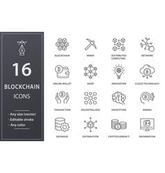 blockchain technology line icons set black vector image