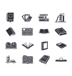 Book silhouette education reading icons set vector