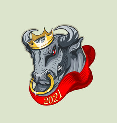 Brutal bull with a crown on his head and a red vector