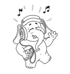 cartoon listening to music on headphones vector image