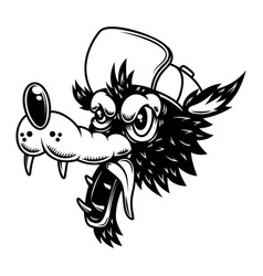 cartoon wolf in baseball cap design element vector image