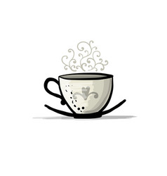 Ceramic teacup sketch for your design vector
