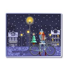 Christmas card with santa girl for winter holidays vector