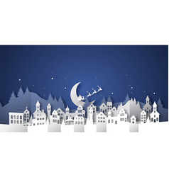 christmas paper cut winter village house landscape vector image