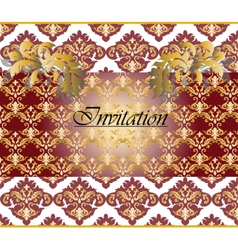 Classic Golden Floral Damask Invitation Card vector image