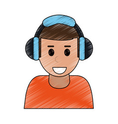 color pencil cartoon half body man with headphones vector image