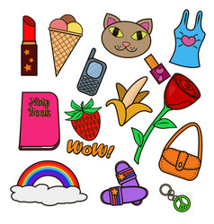 colorful set patches vector image