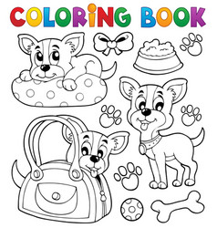 coloring book dog theme 8 vector image