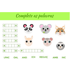 complete as palavras - complete words write vector image