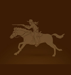 cowboy riding horseaiming rifle gun vector image