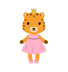 Cute jaguar in dress in modern flat style vector