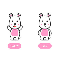 Cute mouse happy and sad opposite card cartoon vector