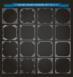 decorative square frames and borders set 11 vector image