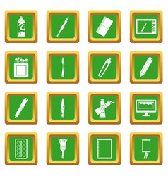 Design and drawing tools icons set green vector