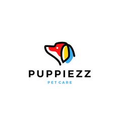 dog head logo line outline monoline color fill vector image