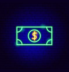 Dollar banknote neon sign vector