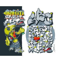 editable graffiti font street art concept vector image