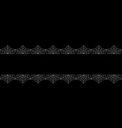 Elegant double white spiderweb lace border with vector