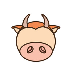 face cow cartoon animal vector image