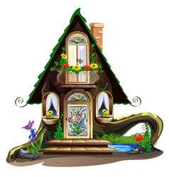 Fairytale wooden house with stained glass windows vector