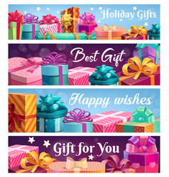 festive presents gift boxes with ribbons vector image