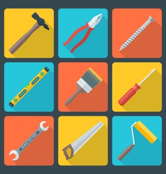 Flat house remodel tools icons vector