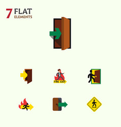 Flat icon door set of entrance fire exit entry vector