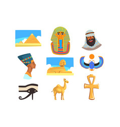 flat set egyptian culture elements vector image