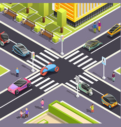 Future transport isometric street background vector