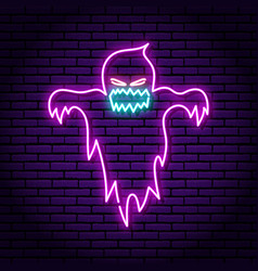 Ghost purple neon sign against background of vector