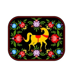 Gorodets painting yellow horse and floral elements vector
