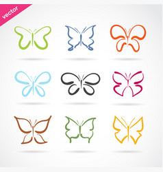 Group of hand drawn butterfly on white background vector