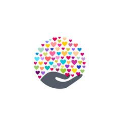 Heart hand logo symbol icon love sign vector