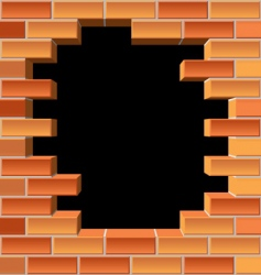Hole in brick wall vector