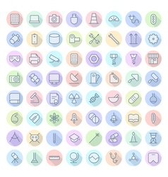 Icons line rounded tech science thin vector