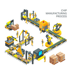 Industrial production of computer parts machinery vector