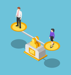 isometric businessman and businesswoman equal on vector image