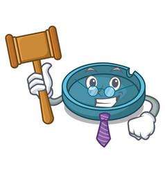 Judge ashtray mascot cartoon style vector
