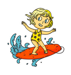 kid surfing isolated child girl surfing vector image