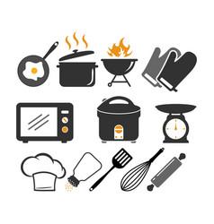 kitchen items icon design set bundle template vector image