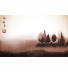 landscape with trees in fog hand drawn with ink vector image