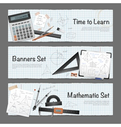 Mathematic Science Banners Set vector