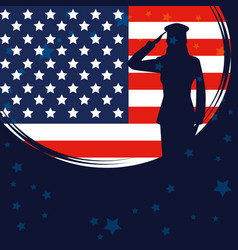 Military woman silhouette with usa flag vector