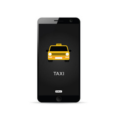 Mobile phone technology with taxi on it vector