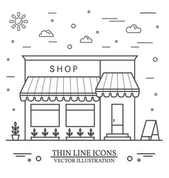 modern minimalist design with store building vector image