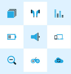 multimedia icons colored set with categories zoom vector image